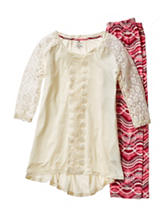 One Step Up 2-pc. Crochet Trim Tunic & Wavy Chevron Print Leggings Set - Girls 7-16