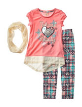 One Step Up 3-pc. Lace Scarf & Tribal Plaid Print Leggings Set - Girls 7-12
