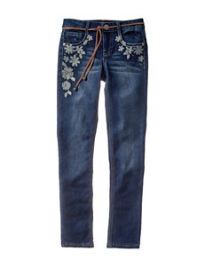 Squeeze Daisy Embroidered Jeans with Belt - Girls 7-16