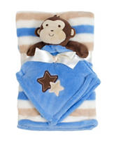 Baby Gear 2-pc. Monkey Buddy & Striped Print Blanket