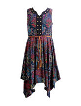 Emily West Yummy Paisley Print Handkerchief Dress – Girls 7-16