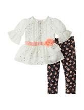 Little Lass 2-pc. Chiffon Top & Leggings Set – Baby 12-24 Mos.