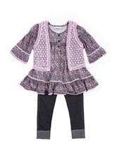 Little Lass Floral Top &  Jeggings Set - Baby 12-24 Mon.