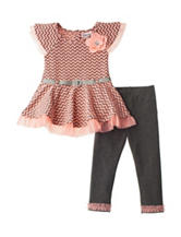 Little Lass 2-pc. Coral Chevron Leggings Set – Baby 12-24 Mos.