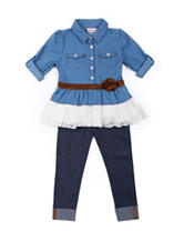 Little Lass Chambray Top &  Jeggings Set - Baby 12-24 Mon.