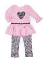 Little Lass Pink Heart Top & Leggings Set - Baby 12-24 Mon.