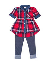 Little Lass Plaid Top & Jeggings Set - Baby 12-24 Mon.