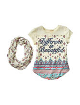 Self Esteem Different is Beautiful Top with Scarf - Girls 7-16