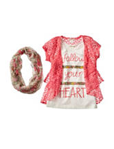 Self Esteem Follow Your Heart Top with Cardigan & Scarf - Girls 7-16