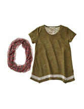 Self Esteem Olive Top with Fashion Scarf - Girls 7-16