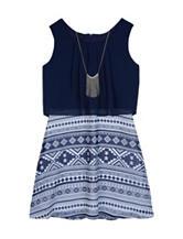 A. Byer Chiffon Popover Aztec Print Dress - Girls 7-16