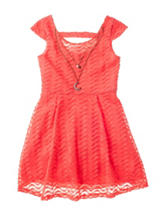 Pinky Coral Chevron Print Dress - Girls 7-16