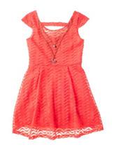 Pinky Coral Chevron Print Dress - Girls 7-16