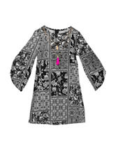 Rare Editions Black & White Scarf Print Dress – Girls 7-16
