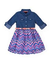 Little Lass Chambray Chiffon Dress - Toddlers & Girls 4-6x