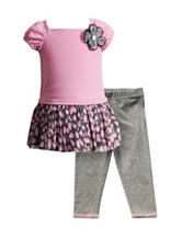 Youngland 2-pc. Pink & Grey Legging Set – Baby 12-24 Mos.