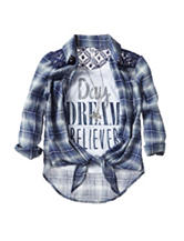 Beautees 2-pc. Day Dream Believer Top & Vest Set with Necklace  - Girls 7-16