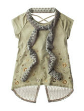 Beautees Heat Seal Embellished Scarf Top – Girls 7-16
