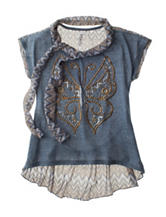Beautees Embellished Butterfly Scarf Top – Girls 7-16