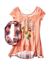 Beautees Be Yourself Screen Print Scarf Top – Girls 7-16