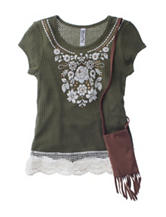 Beautees Olive Green Lace Hem Top
