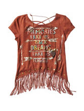 Beautees Memories Screen Print Fringe Top – Girls 7-16