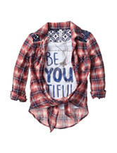Beautees Plaid Layered-Look Top – Girls 7-16