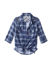 Beautees Plaid Print Top - Girls 7-16