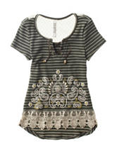 Beautees Striped Print Embroidered Lace Top – Girls 7-16