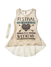 Beautees Festival Weekend Embellished Tank Top with Headband – Girls 7-16