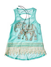 Beautees Embellished Elephant Necklace Top – Girls 7-16