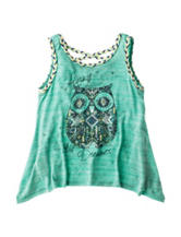 Beautees Owl Screen Print Necklace Top – Girls 7-16