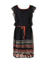 Speechless Black Chevron Dress - Girls 7-16