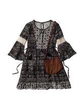 Beautees Crochet Aztec Print Dress with Purse – Girls 7-16