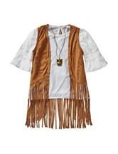 Beautees 2-pc. Faux Suede Fringe Vest & Top – Girls 7-16