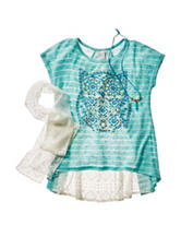 Beautees 2-pc. Lace Owl Striped Top & Scarf Set – Girls 7-16