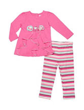 Baby Gear Pink Cascade Top & Striped Print Leggings Set - Baby 12-24 Mon.