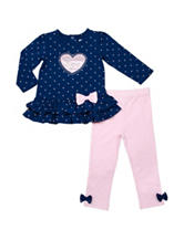 Baby Gear Heart Top & Leggings Set - Baby 12-24 Mon.