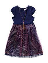 Youngland Mesh Dress with Necklace - Girls 4-6x