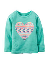 Carter's® Teal Aztec Heart Print Top –Toddler Girls