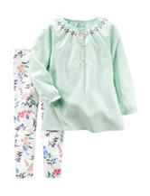 Carter's® 2-pc. Floral Embroidery Top & Floral Print Leggings Set – Toddler Girls