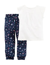 Carter's® 2-pc. Lace Inset Top & Floral Print Pants Set – Toddler Girls