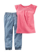 Carter's® 2-pc. Polka Dot Chambray Top & Pants Set – Toddler Girls