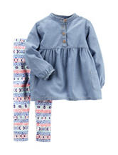 Carter's® 2-pc. Chambray Top & Aztec Print Leggings Set – Toddlers Girls