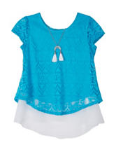 Amy Byer Tribal Lace Layered-Look Necklace Top – Girls 7-16