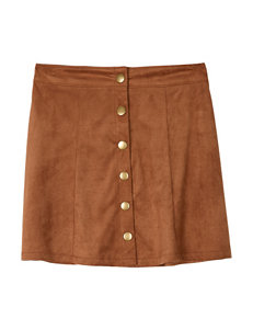 Amy Byer Faux Suede Button Skirt – Girls 7-16