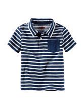 OshKosh Bgosh® Navy & White Striped Print Polo Shirt - Toddler Boys
