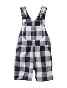 OshKosh B'gosh® Navy & White Plaid Print Shortalls - Toddler Boys