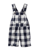 OshKosh B'gosh® Navy & White Plaid Print Shortalls - Toddler Boys