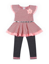 Little Lass Chevron Top & Leggings Set - Toddlers & Girls 4-6x